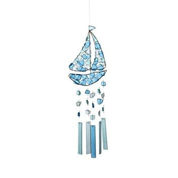Peaceful Sea Glass Wind Chime (Sailboat)