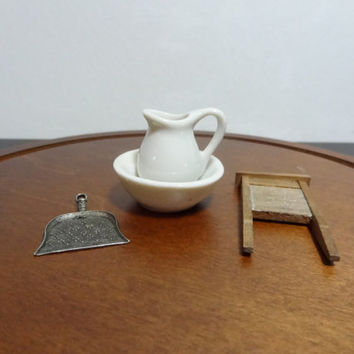 Vintage Minatures - Farmhouse Home Goods - White Ceramic Wash Basin and Pitcher, Metal Broom/Dust Pan, and Wood Washboard