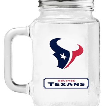 Houston Texans Mason Jar Glass With Lid