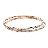 Cezanne Pave Rhinestone Bangle, Set of 2