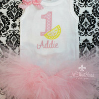 Pink Lemonade Birthday Set - Onesuit and Tutu - Pink and Yellow - First Birthday Outfit - Personalized - Embroidered - Tank Top - Onesuit