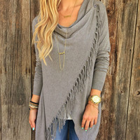 Autumn Cardigan Women Long Sleeve Knitted Oversized Sweater Loose Hem Tassel Cardigan Sweater Women Plus Size XXL