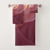 Movement Abstract Modern Wine Red Pink Fractal Art Bath Towel Set