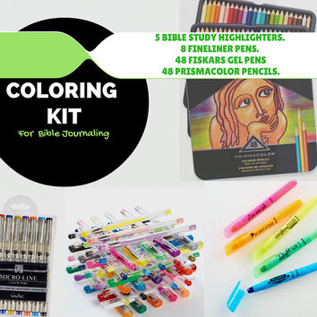 109-piece bible journaling coloring kit - 48 colored pencils, 48 gel pens, 8 fineliner pens and 5 bible highlighters -  gift idea