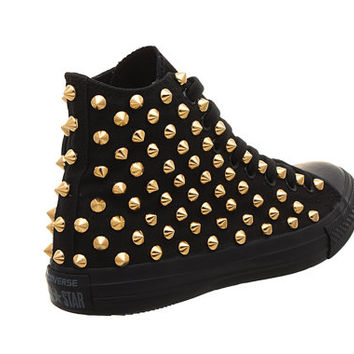 Studded Converse, Converse All Black Hith Top with Gold Cone Studs by CUSTOMDUO on ETSY
