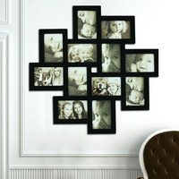 Adeco PF0206 Decorative Black Wood Wall Hanging Collage Puzzle Picture Photo Frame, 12 Openings, 4x6 inches