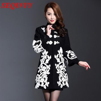 Thermal Coat 2017 Fashion Daily Women  Autumn Winter Long 3/4 Flare Sleeve A-line  New Gray / Black Appliques Coat
