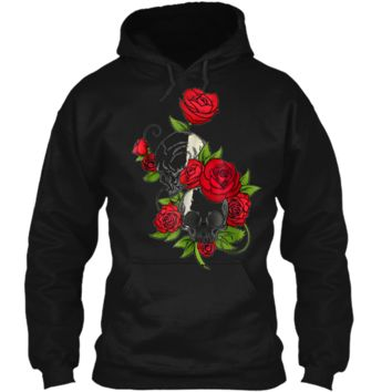 Red Flowers Sugar Skull Day Of The Dead Halloween Pullover Hoodie 8 oz