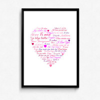 I Love You in Different Languages Art Printable - Printable File with I Love You Typography - Typography Poster - 8 x 10 Wall Art Decor