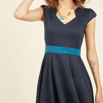 The Story of Citrus A-Line Dress in Navy | Mod Retro Vintage Dresses | ModCloth.com