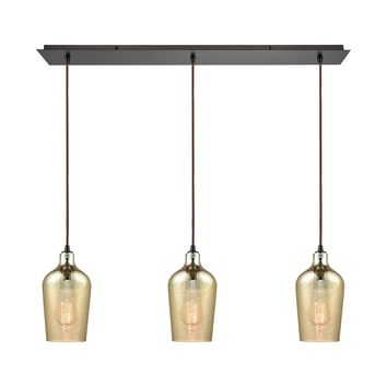 Hammered Glass 3 Light Linear Pan Fixture In Oil Rubbed Bronze With Hammered Amber Plated Glass