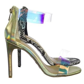 Timeless18 Lucite Clear Strap High Heel Dress Sandal w Snake & Metallic