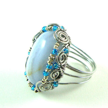 Blue Lace Agate Cabochon Ring with Ethiopian by FaroCreations
