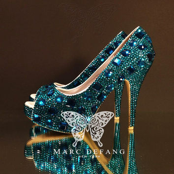 Luxury Peacock Blue Diamond Frost Peep Toe Heels (New Snow Diamond Series)