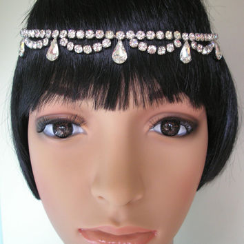 Rhinestone Headpiece Art Deco Headpiece Great Gatsby Crystal Headband Tikka Upcycled Vintage Diamante Hairband Wedding