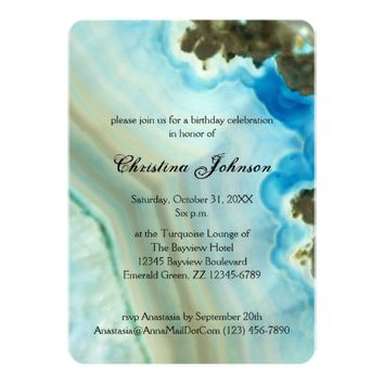 Girly Chic Crystal Blue Sweet 16 Birthday 5x7 Paper Invitation Card
