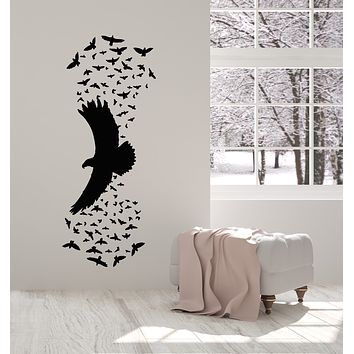 Vinyl Wall Decal Birds Flying Patterns Black Raven Gothic Style Stickers Mural (g1348)