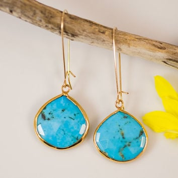 Turquoise Earrings - Long Drop Earrings - Bezel Set Earrings - Large Gemstone Earrings - Gold Earrings