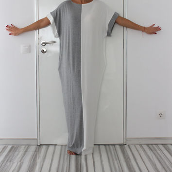 White and Grey oversized dress , Maxi dress, Caftan, Abaya, Plus size dress, Plus size clothing, Spring Summer dress