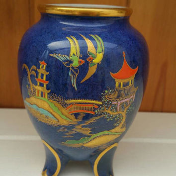 CARLTONWARE New Mikado vase/gorgeous lustre Japanese /chinaland/1920s/rare vase /ships worldwide from uk