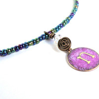 Small letter pendant - initial jewelry - seed bead cord - purple initial - letter necklace - monogrammed charm - letter pendant