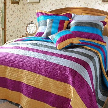 Modern Suburban Striped Metallic Shiny Colorful Coverlet Bedspread Set (DXJ106215)