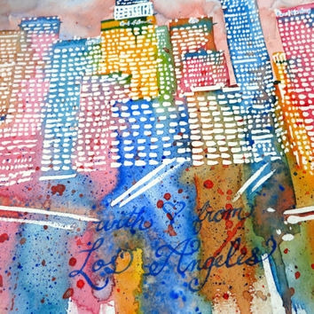 With Love From Los Angeles Skyline Watercolor Painting Poster Print, Downtown LA skyline watercolor painting