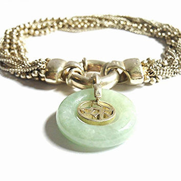 e3486cdc209 Vintage Stamped 925 Italian Sterling Silver Chinese Jade Bracelet Italy  Stamped 925 Sterling Silver Green Jade