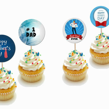 24 Pieces Father's Day Cupcake Toppers Picks for Birthday Decorations DIY Party Supplies