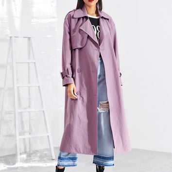 Drop Shoulder Solid Trench Coat