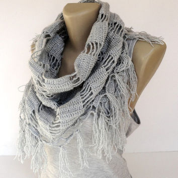 gray scarves , crocheted scarf shawl , cowl neck,Fashion gift ideas for her , silvery acrylic neckwarmer, winter trends , spring