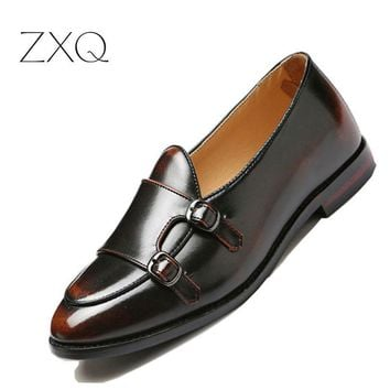 Men's Microfiber Leather Double Monk Strap  Loafers Shoes Luxury Brand Italian Design