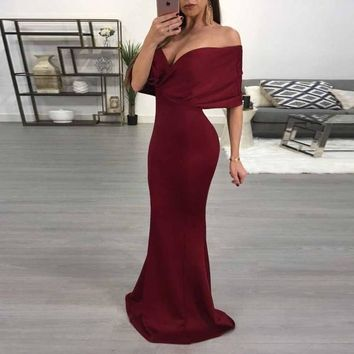 Elegant Mermaid Formal Gown Burgundy Off The Shoulder Wedding Party Dress