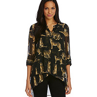 From the Heart Cheetah Hi-Low Tunic - Black/Nude