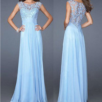 Ball Gown Zippers Chiffon Lace Slim Prom Dress = 5861449921