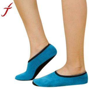 Hot Sale Winter Thick Socks Women Girls Non Slip Slipper Fleece Warm Gripper Slippers Slip-Resistant Bottom Sole Ankle Socks