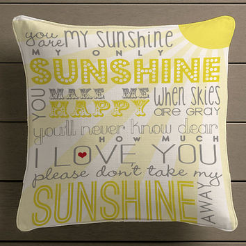 You Are My Sunshine Quote Square Pillow Case Custom Zippered Pillow Case one side and two side