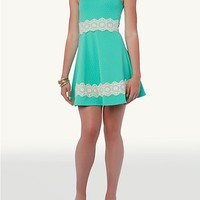 Solid Jacquard Skater Dress