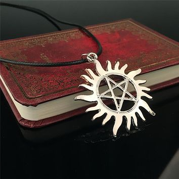 SHUANGR Supernatural Necklace Pentagram Castiel Wings Angel Wicca Dean Winchester Jensen Ackles amulet pendant necklace