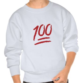 Hundred Points Symbol Emoji Pull Over Sweatshirt
