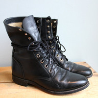 Vintage Black Lace-Up Boots
