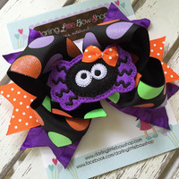 Spider Bow -- Halloween Bow -- Itsy Bitsy Spider -- orange, purple and green polka dot ribbons with large spider center -- optional headband