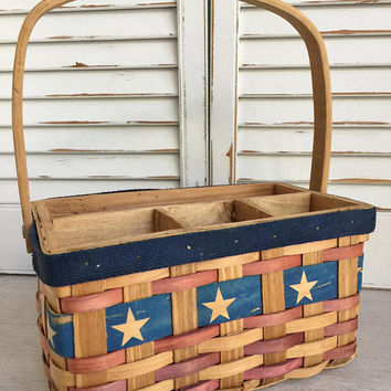 Wood Splint Patriotic Basket, Divided Basket, Cutlery Holder Basket, Americana Decor, Basket with Handle, Stars and Strips Basket, Rustic