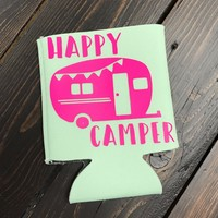 Happy Camper Can Cooler-Mint/Pink