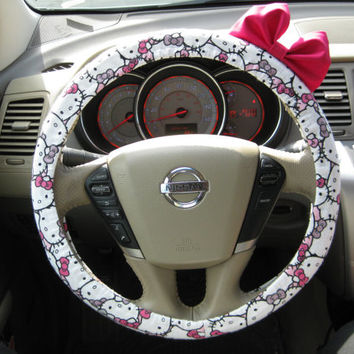 The Original Limited Edition Hello Kitty Steering Wheel Cover with Matching Bright Brink Pink Bow