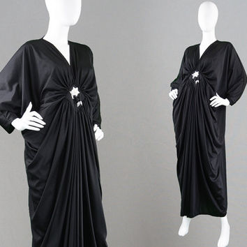 Vintage 70s Kaftan Dress Slinky Jersey Draped Dress Long Black Dress Kimono Style Dress Beaded Evening Gown Grecian Goddess 1970s Disco Gown