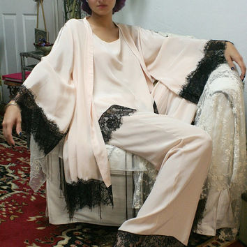Silk Pajamas and Robe Set Silk Lingerie Silk Sleepwear Pajamas and Robe Sleepwear Bridal Lingerie Art Deco Lingerie
