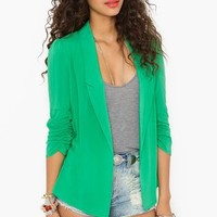 Chiffon Back Blazer in Green