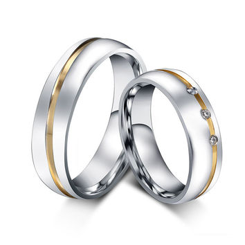 White 12 1 pair gold plated custom alliance stainless steel wedding bands couples rings sets for him and her anillos de boda anel ouro