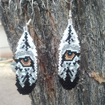 Native American Made Beaded Wolf Eye Earrings